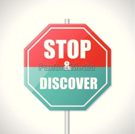 stoppen sie und entdecken sie verkehrszeichen