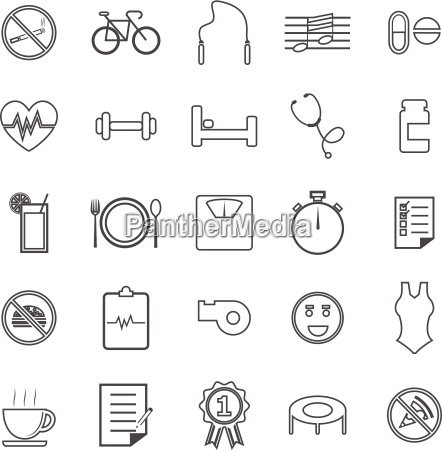 wellness line icons on white background