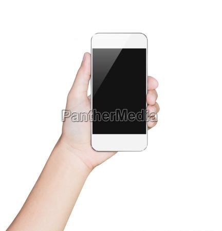 nahaufnahme hand halten smartphone weiss mobilbeschneidungspfad