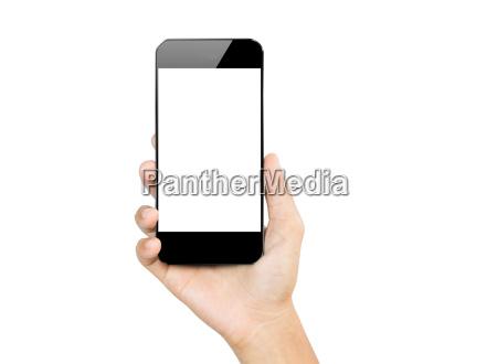 nahaufnahme hand halten smartphone handy isoliert