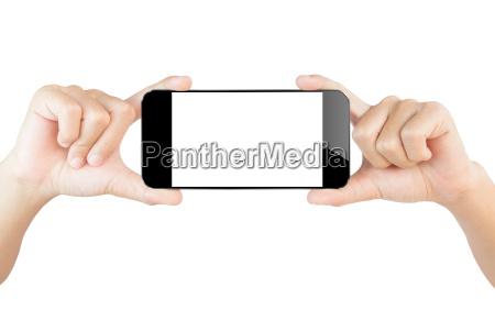 hand zeigen smartphone isoliert weissem clipping