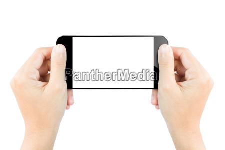 nahaufnahme hand halten smartphone bildschirmanzeige getrennt