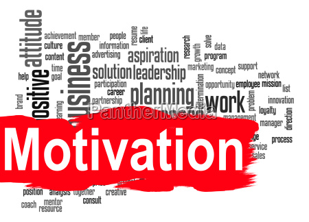 motivation wort wolke mit roten banner