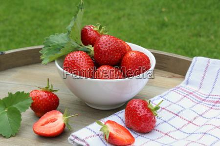 fresh strawberries on a tray