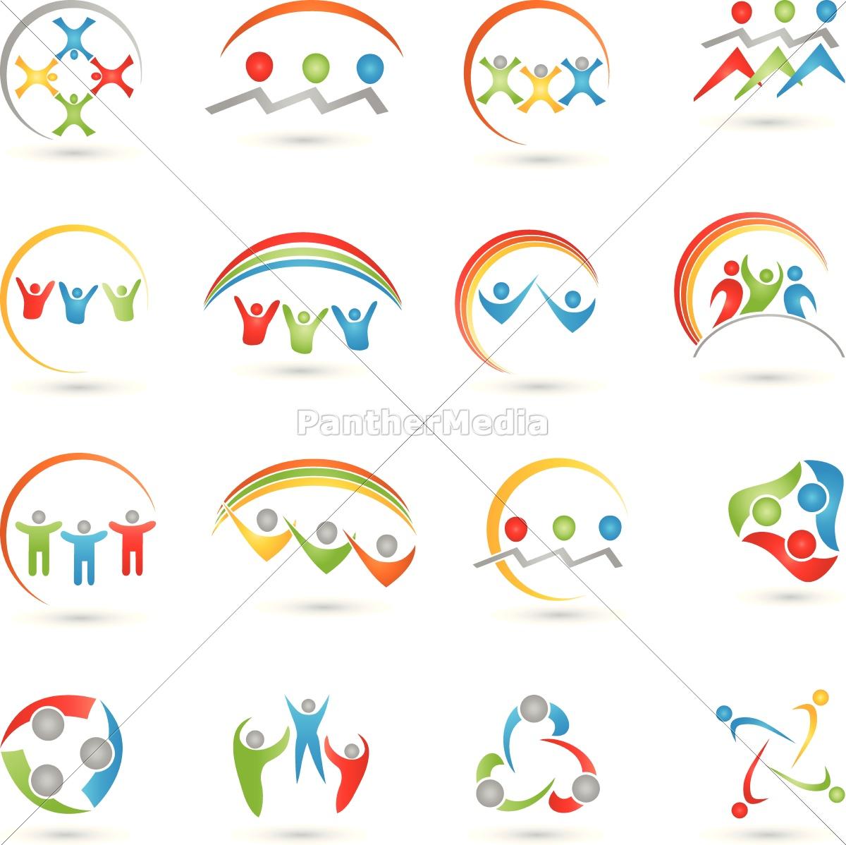 menschen, logos, sammlung, , team - 14230841