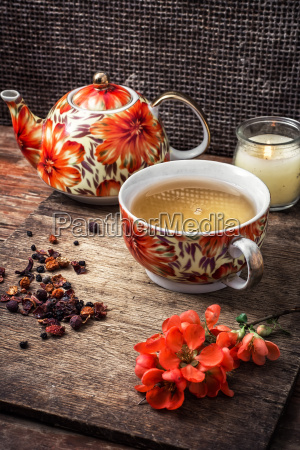 porcelain cup of fragrant tea for