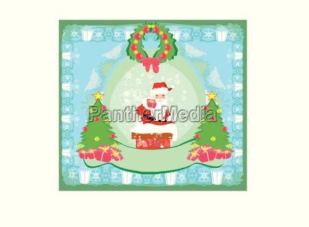 weihnachts grusskarte lustige weihnachtsmann
