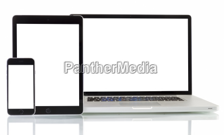 modernen laptop telefon tablet auf einem