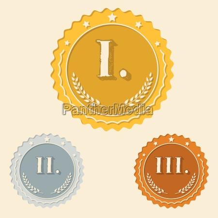 various awards with roman numbers flat