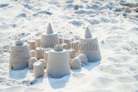 small sand castle with copy space