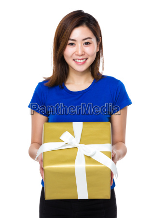 asian woman show with gift box