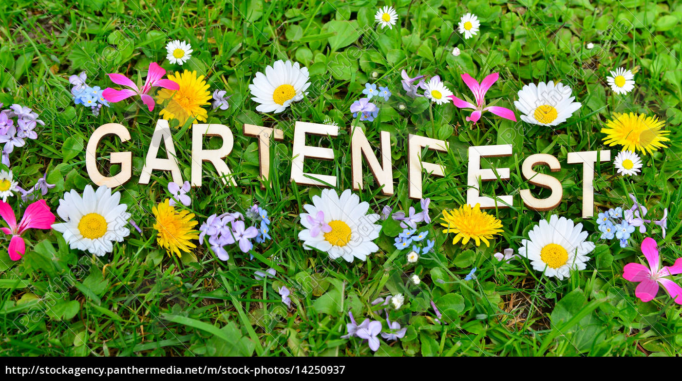 Gartenparty Gartenfest Text Lizenzfreies Bild 14250937