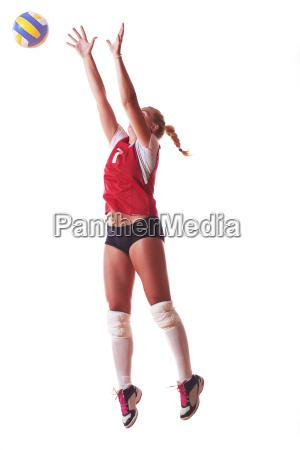 volleyballfrau lokalisiert auf weissem hintergrund