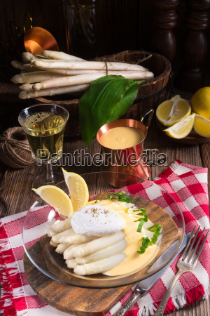 white asparagus served with a fine