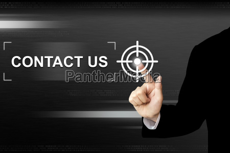 business hand pushing contact us button