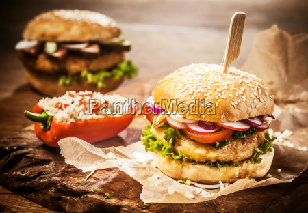 vegetarian couscous burgers with fresh toppings
