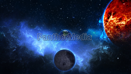 planet erde mit sonne im universum