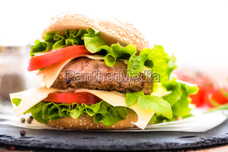 closeup of hamburger with cheese fresh