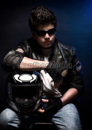 stylish teen biker portrait