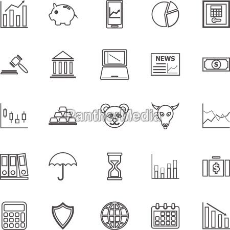 stock market line icons on white