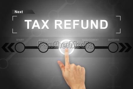 hand clicking tax refund button on