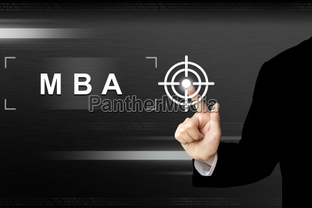 business hand pushing mba or master