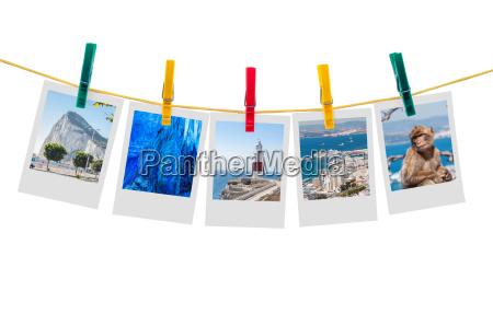 fuenf fotos von gibraltar auf einer