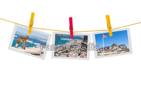 drei fotos von gibraltar auf einer