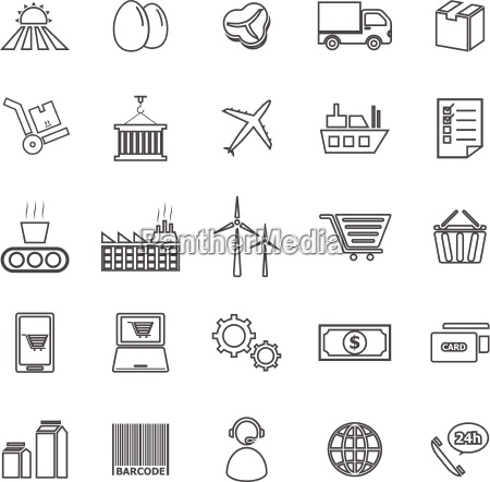 supply chain line icons on white