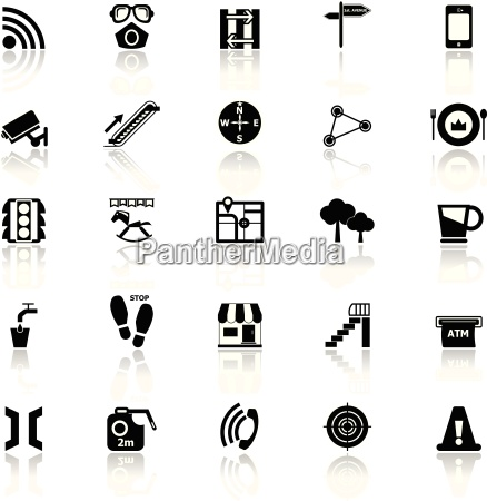 pathway related icons with reflect on