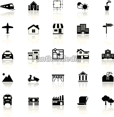 real estate icons with reflect on