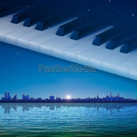 abstrakt nacht hintergrund mit stadt und