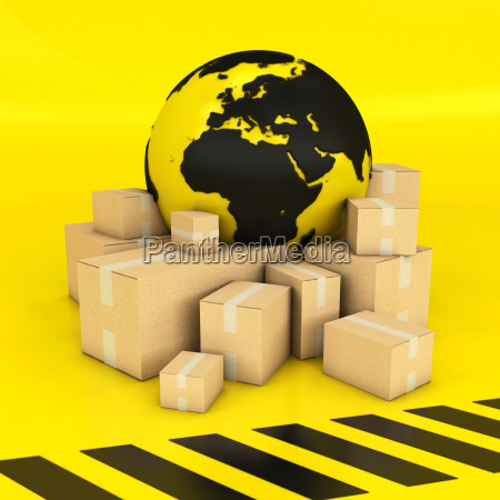earth and boxes in black and