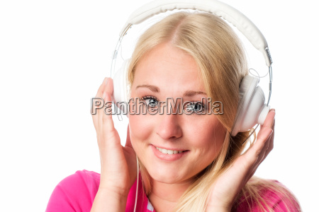 young blonde woman with headphones portrait