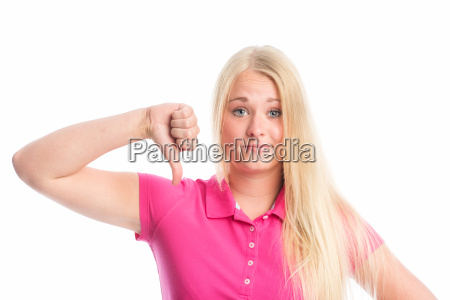young blond woman face showing thumbs
