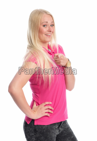young blond woman pointing at something