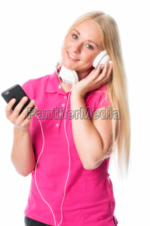 girl with mobile phone listens to