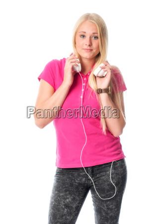 blond girl with headphones
