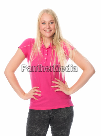 young blonde girl puts his hands