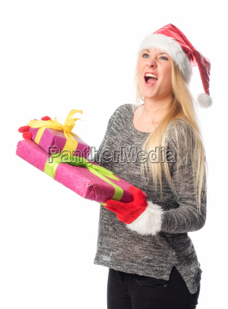 christmas woman holding a gift and