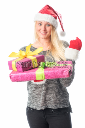christmas woman with gifts a fist