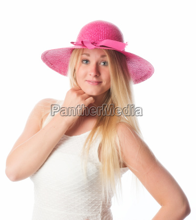 blond girl with summer hat