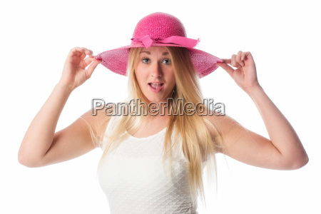 blond woman wearing a straw hat