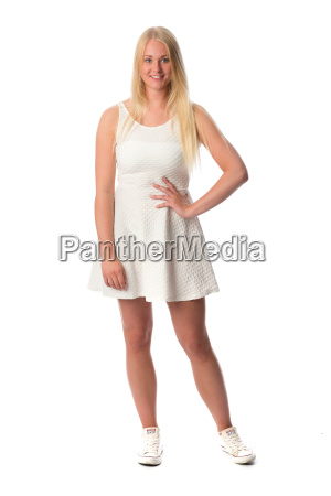 blonde in white minidress