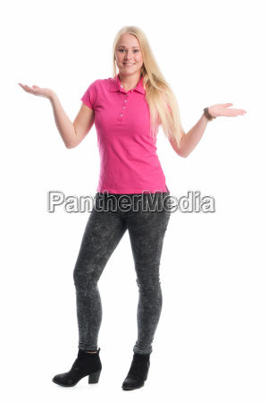 blonde girl raises her arms impatiently