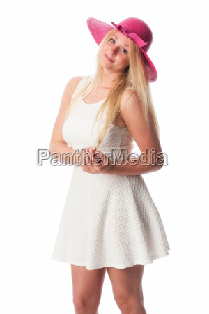 dreamy girl in white summer dress