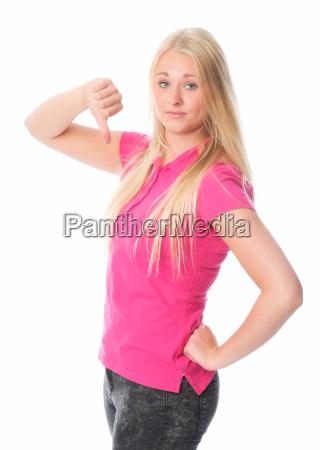blondes, junges, mädchen, zeigt, daumen, nach - 14303851