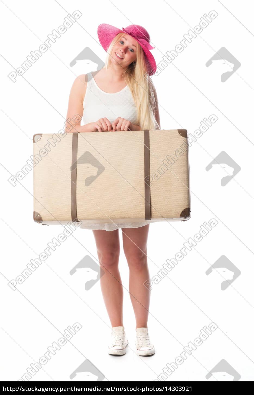 blondes, mädchen, trägt, einen, reisekoffer, - 14303921