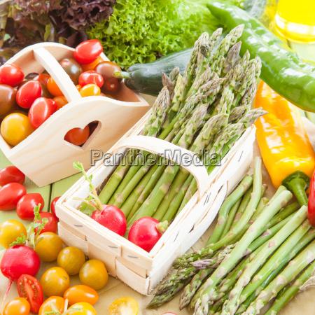 green asparagus and seasonal vegetables