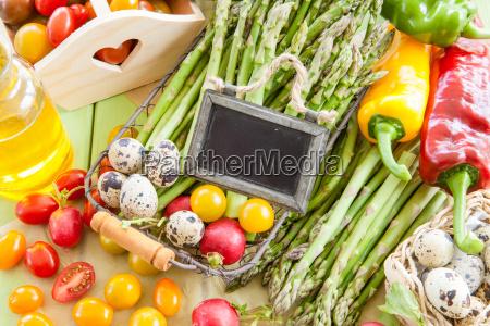 fresh vegetables and eggs